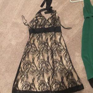 Black gold lace halter a-line cocktail dress sz 4